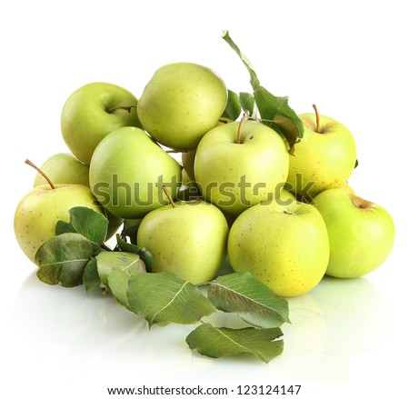 juicy apples with green leaves, isolated on white