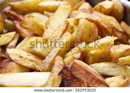 juicy baked potatoes tasty food - stock photo