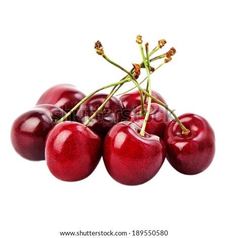 Juicy black cherries isolated on white.  - stock photo