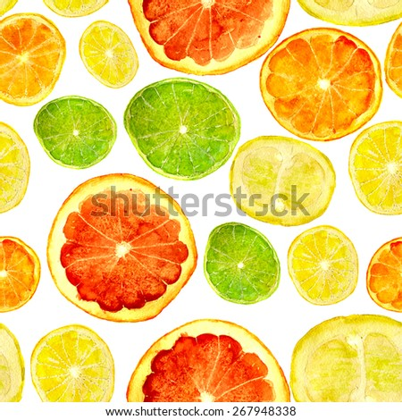 juicy citrus fruits, square for seamless pattern, hand-painted watercolor - stock photo