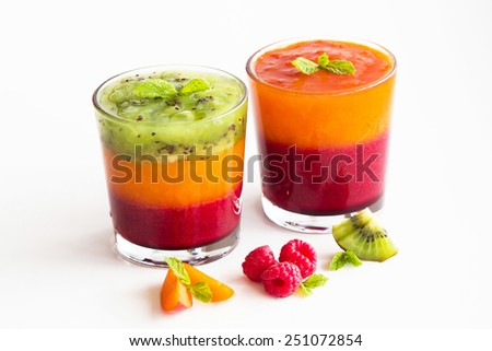 Juicy, colorful, delicious dessert with fruit for all - stock photo