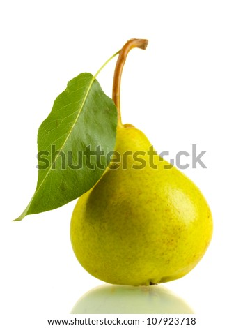 Juicy flavorful pear isolated on white