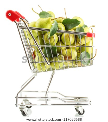 Juicy flavorful pears in cart isolated on white - stock photo