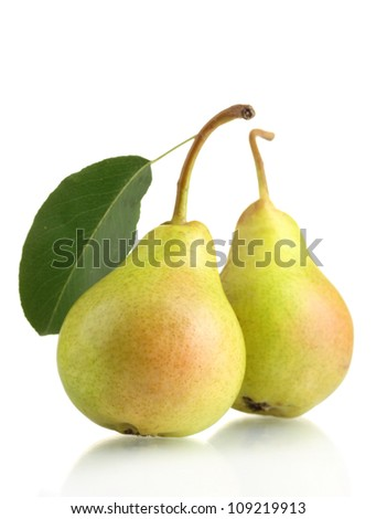 Juicy flavorful pears isolated on white