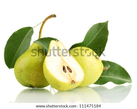 Juicy flavorful pears isolated on white - stock photo