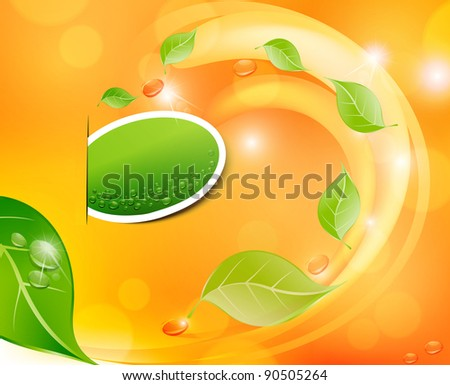 juicy, fresh background with leaves and drops (JPEG version) - stock photo