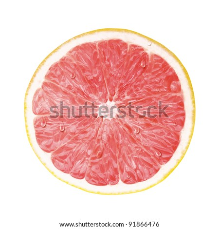 juicy fresh cross section, transection of pomelo with whtie background - stock photo