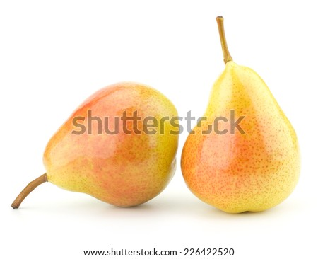 Juicy fresh pears isolated on white background - stock photo