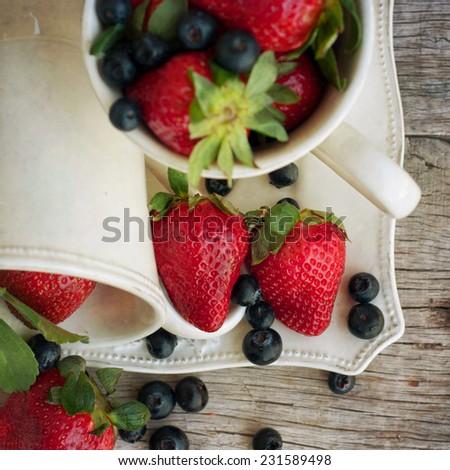 juicy fresh ripe red strawberries - stock photo