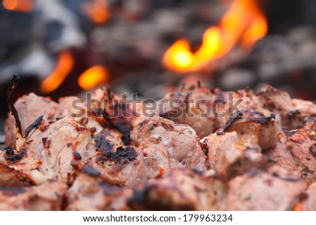 Juicy fresh slices of meat prepare on fire