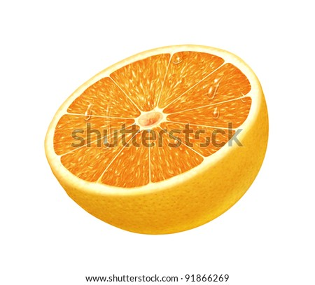 juicy fresh water drops cross section of orange with white background - stock photo