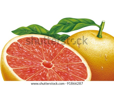 juicy fresh water drops of oranges with white background - stock photo