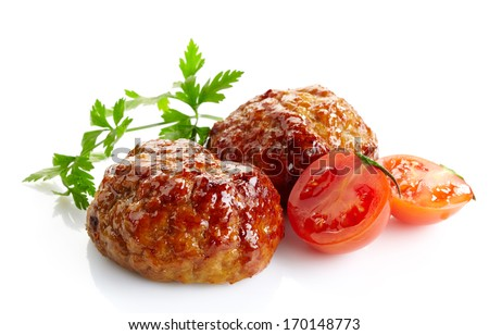 juicy fried meat cutlets isolated on a white background