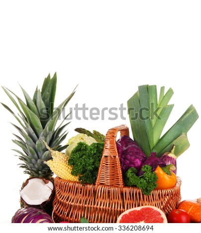 Juicy fruit and tasty vegetables isolated on white - stock photo