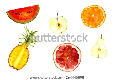 juicy fruit mix: pineapple, watermelon, apple, orange, grapefruit, pear, hand-drawn, watercolor - stock photo