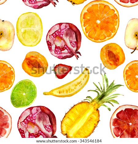 juicy fruits pattern: pomegranate, apricot, strawberry, orange, banana, lime, pineapple, pomelo, grapefruit, apple. Hand-drawn watercolor - stock photo
