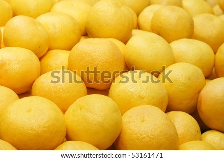 Juicy grapefruits in a big marketplace