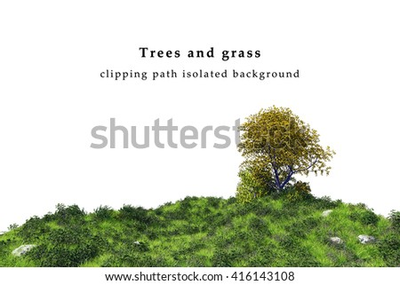 Juicy grass field and tree landscape  isolated on white background include clipping path. 3D illustration - stock photo