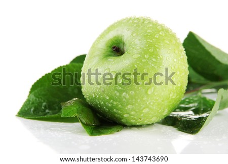 Juicy green apple with leaves, isolated on white - stock photo