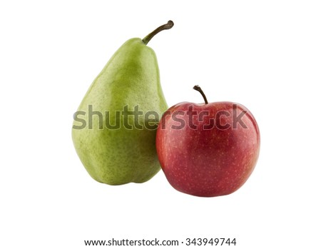 Juicy green pear and ripe red apple - stock photo