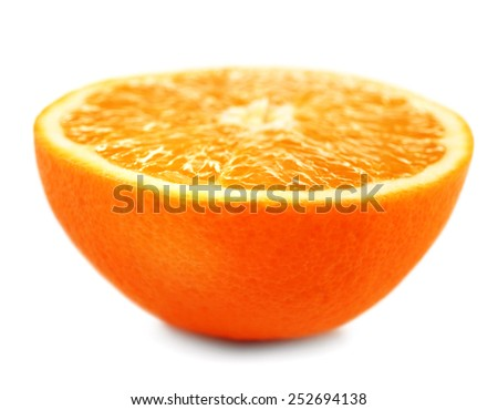 Juicy half of orange isolated on white - stock photo