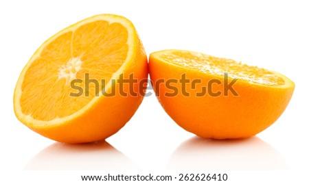 Juicy halves of orange isolated on white - stock photo