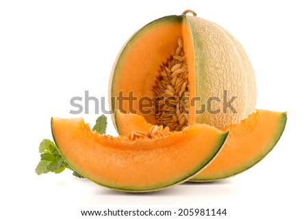 Juicy honeydew melon on a white background. - stock photo