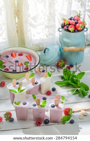 Juicy ice cream with fruits - stock photo