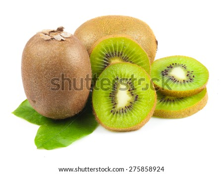 Juicy kiwi fruit and leaves isolated on white - stock photo