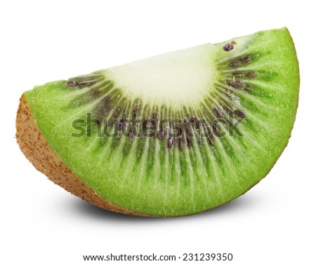 Juicy kiwi fruit isolated on white background. Clipping Path - stock photo
