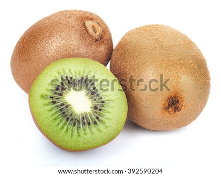 Juicy kiwi fruit set isolated on white background