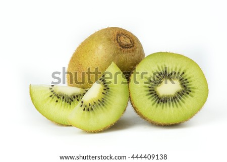 Juicy kiwi fruit sliced isolated on white background.