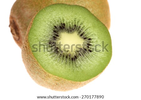 Juicy Kiwi Fruits on white background - stock photo