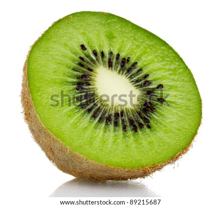 Juicy kiwi isolated on white - stock photo