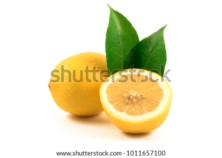 Juicy lemons isolation and green leafs