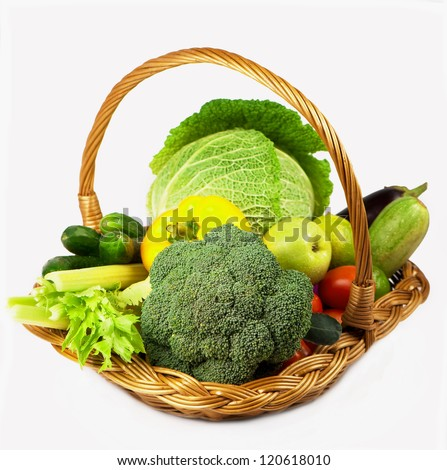 Juicy lemons, tomatoes, pepper, broccoli, onions, cabbage - stock photo