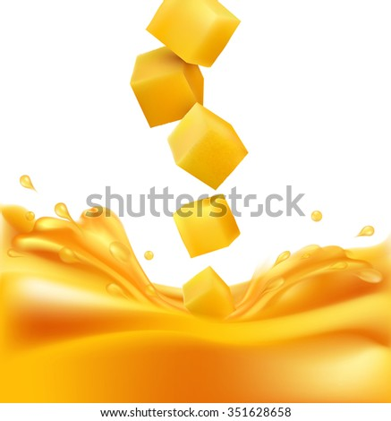 juicy mango slices falling into fresh juice (isolated on white background) - stock photo