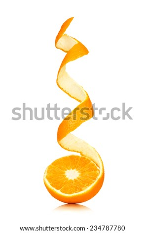 juicy orange with peeled spiral skin isolated on white - stock photo