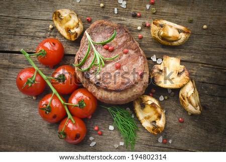 Juicy Organic Grilled Steak - stock photo