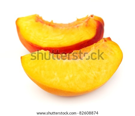 Juicy peach slices closeup