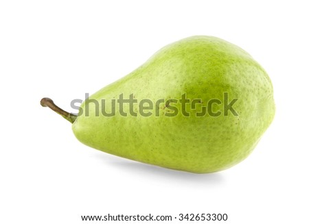 juicy pear on a white background - stock photo