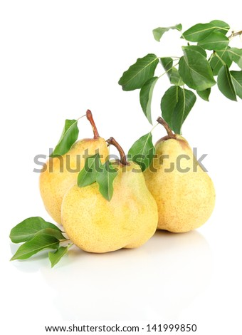 Juicy pears isolated on white