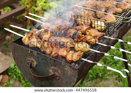 Juicy pieces of meat prepare on fire. Shish kebab on a skewer - stock photo
