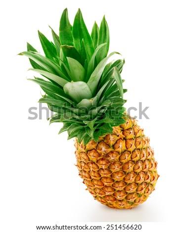 Juicy pineapple. Isolated on white background  - stock photo