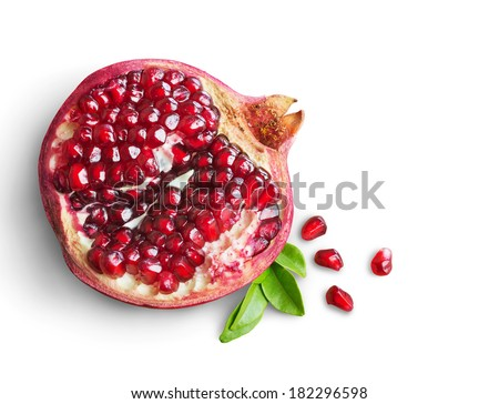 Juicy pomegranate fruit isolated on white background - stock photo