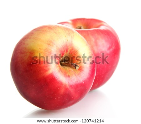 juicy red apples isolated on white - stock photo