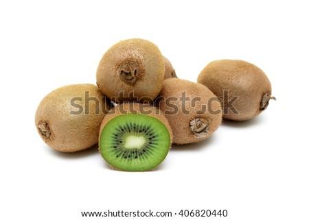 Juicy ripe kiwi fruit isolated on white background close up. horizontal photo. - stock photo