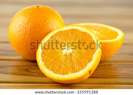 Juicy ripe orange halves - stock photo