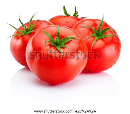 Juicy ripe red tomatoes isolated on white background - stock photo