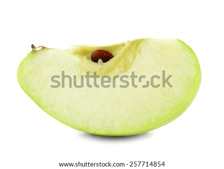 Juicy slice of apple isolated on white - stock photo